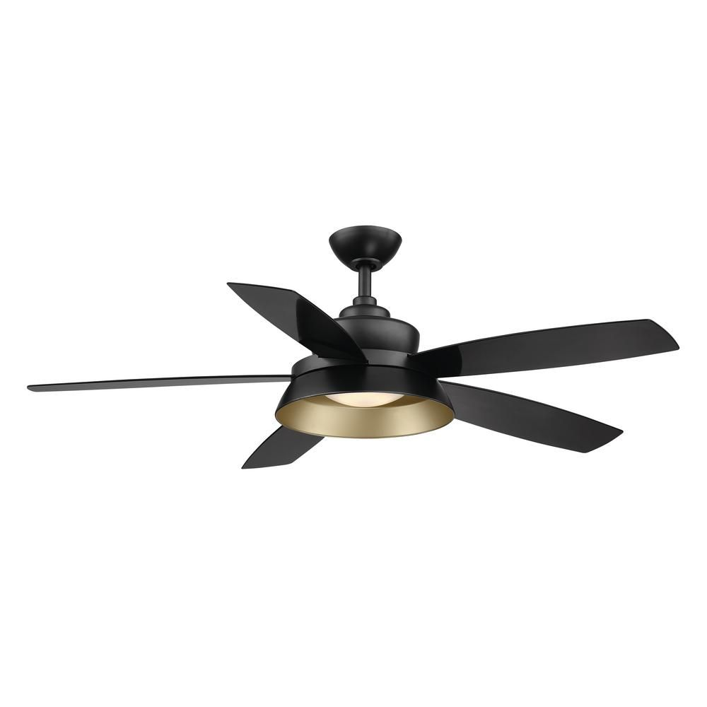 Home Decorators Collection Kempston 52 In Integrated Led Outdoor Matte Black Ceiling Fan With Light Kit And Remote Control Sw1654wet Mbk The Home Depot Black Ceiling Fan Ceiling Fan With Light