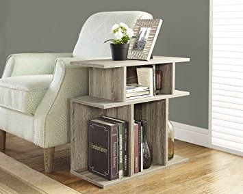 Monarch Specialties Dark Taupe Reclaimed Look Accent Side Table 24 Inch