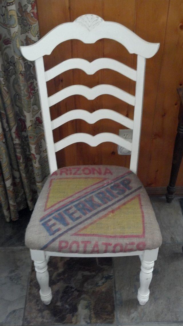 Repurposed Chair With Burlap Potato Sack Seat Cover
