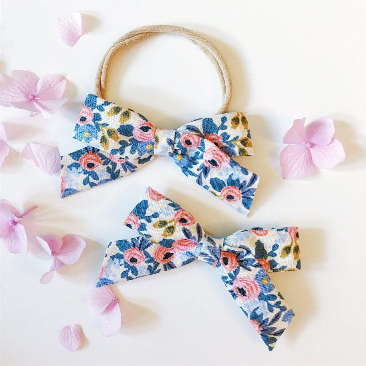 bows baby bows Spring bows Rifle paper hair clip floral baby headband Rifle Paper Bow Floral baby bow Newborn headband newborn bow