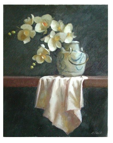 Painting-Oil-Murray Smith: White Orchids in a Japanese Vase