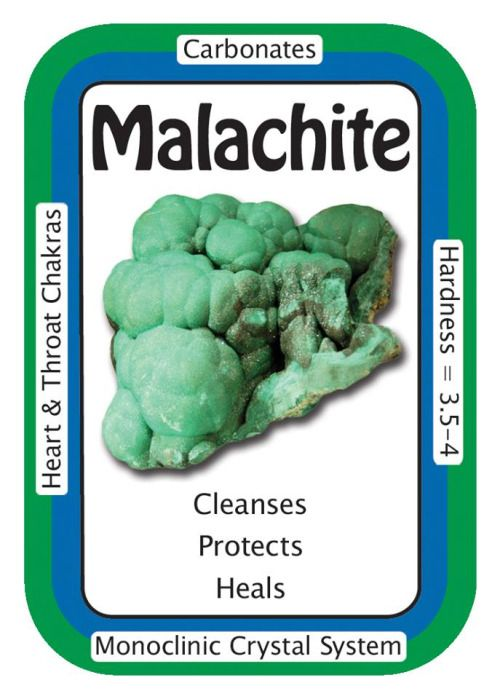 "Crystal Card of the Day: Malachite, ""I welcome positive transformation into my life."" Malachite amplifies energies of all kinds, both positive and negative. Said by some to be one of the most important healing stones, Malachite helps the user acknowledge, draw out, and discharge negative energy, including old emotional patterns, past traumas, and suppressed feelings. Malachite's ability to draw out negative energy can assist in discovering the energy blocks and patterns that may be causing…"
