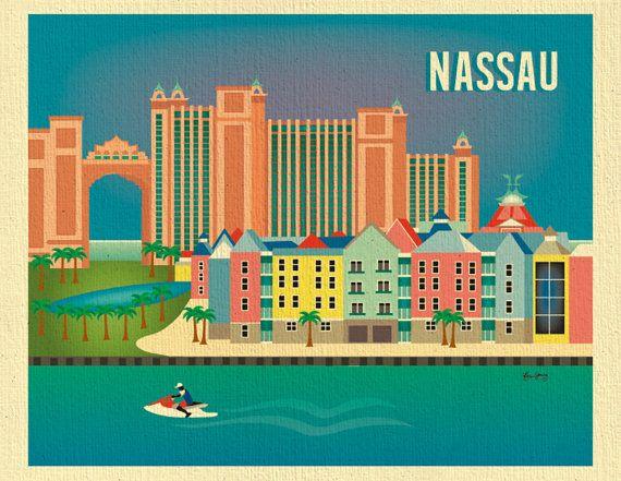 Nassau Bahamas Horizontal Collage Print Travel by loosepetals