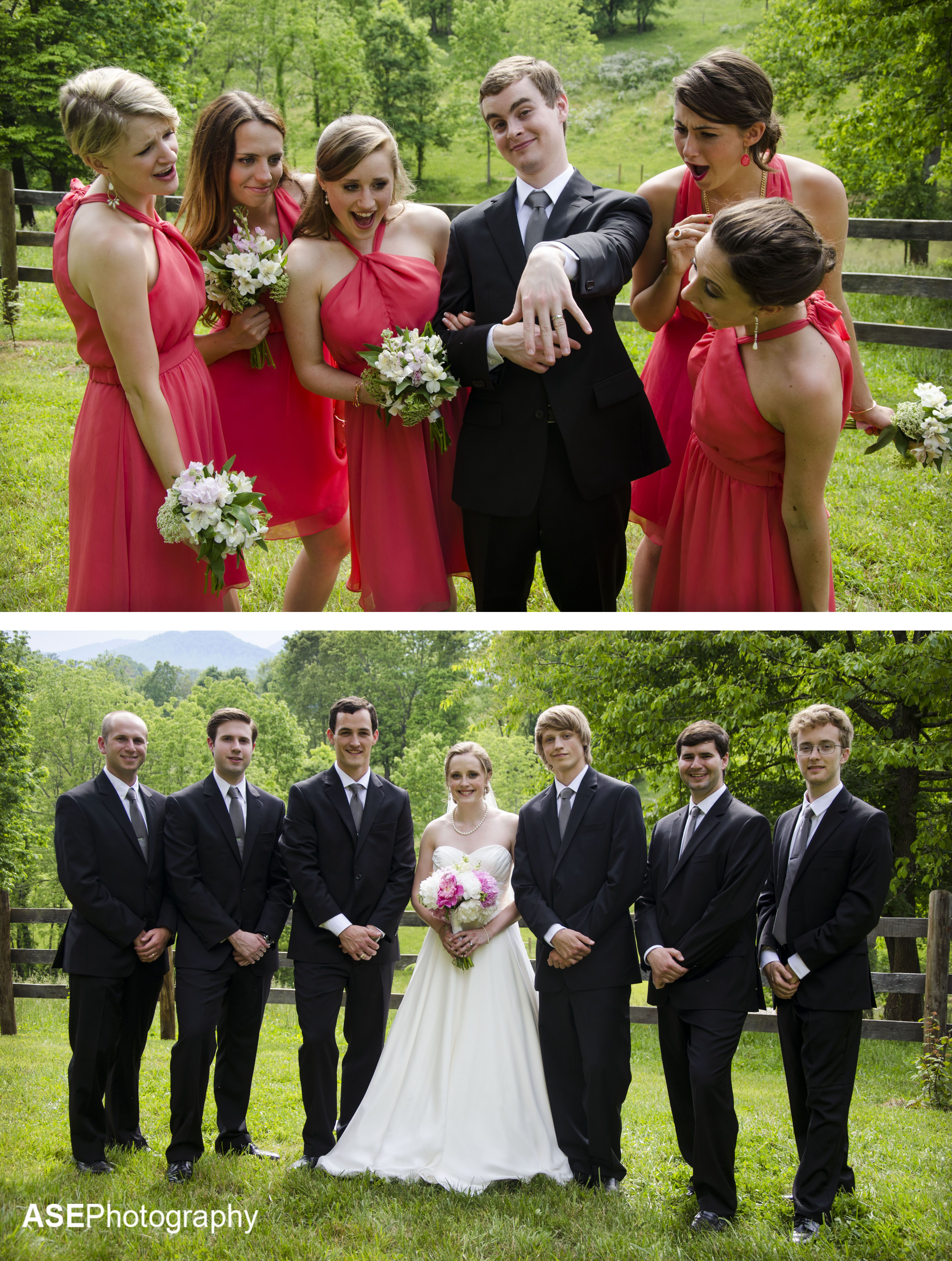 Funny Wedding Photography: Bridesmaids With Groom And
