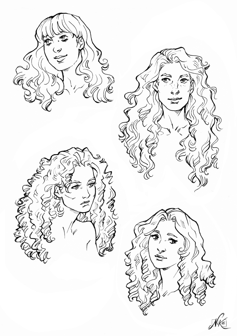Some Curly Hair References By Nikemv Curly Hair Drawing Curly Hair Cartoon Hair Sketch