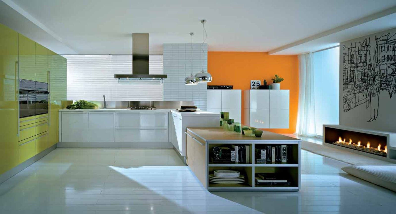The kitchen is the heart of the home here is a colourful kitchen