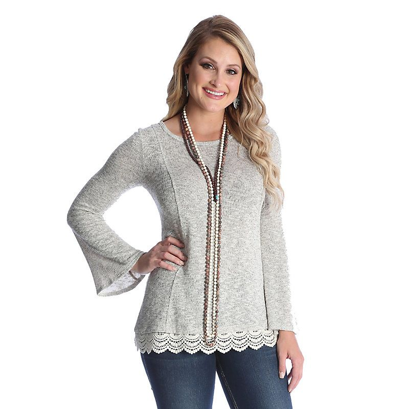 Wrangler Women s Long Sleeve Sweater Knit with Lace Trim at Hem Solid Top  Shirt (Size  Small) Grey 9e15ab99e