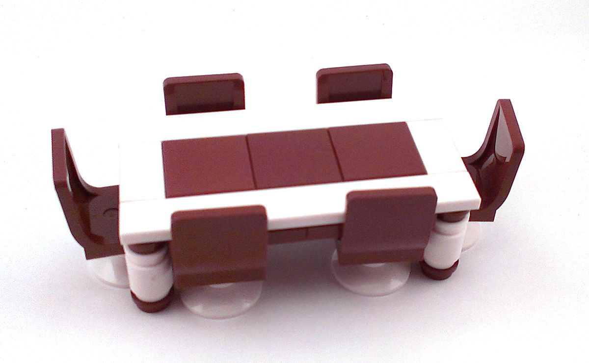 LEGO Furniture Dining Set W Table 6 Chairs Seats Brown White
