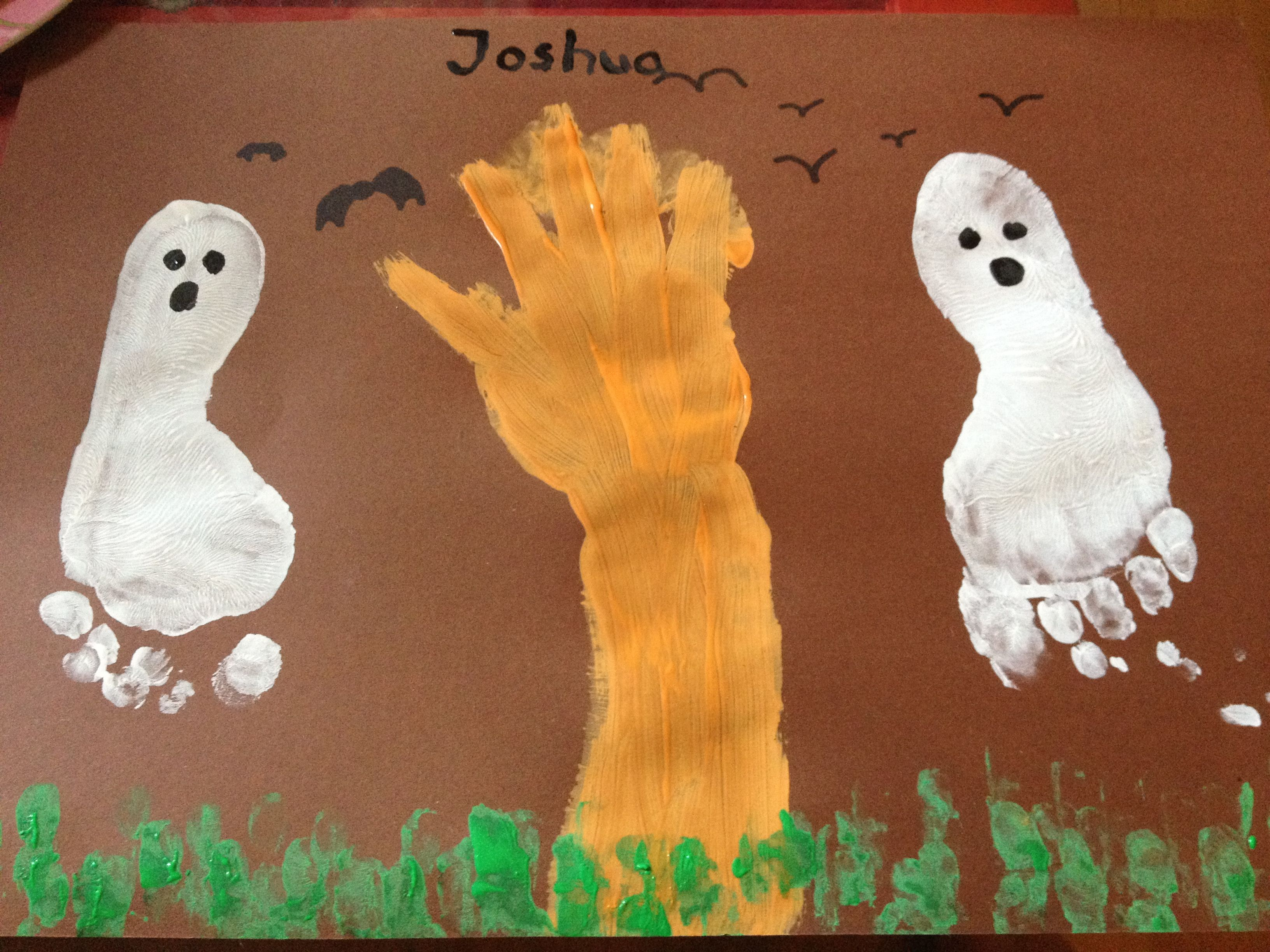 Halloween painting made with my two year old son | teacher ideas ...