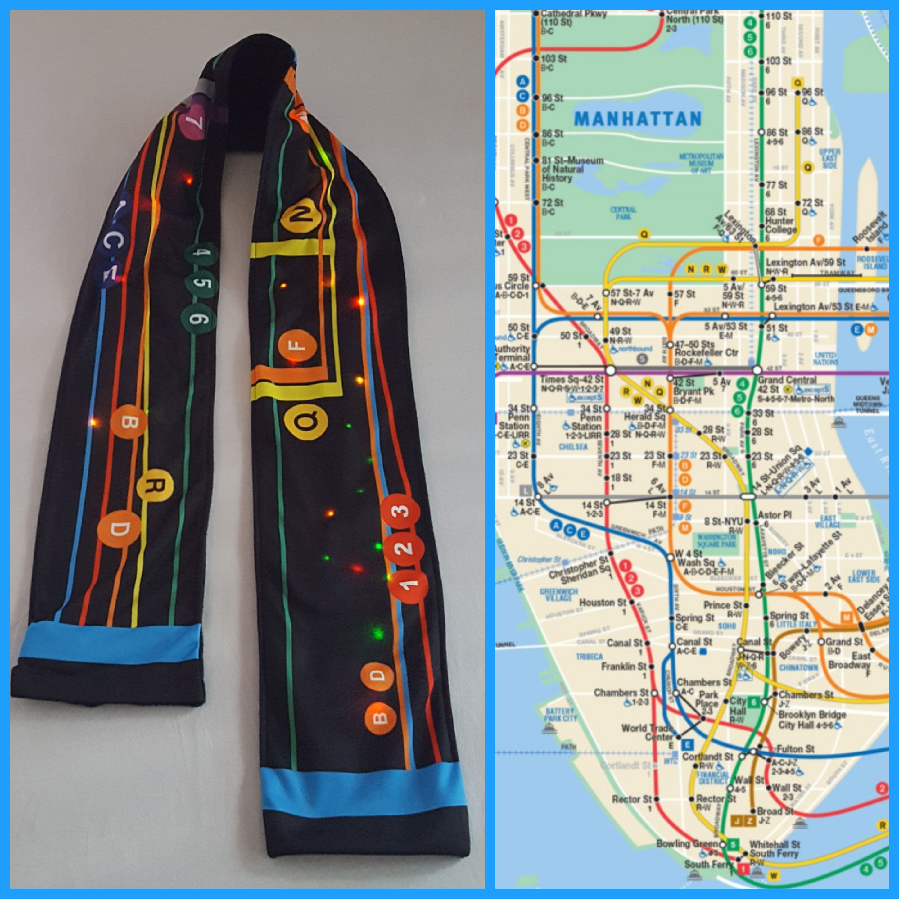 Nyc Subway Map Actrual.Salute To Straphangers Adult Size Scarf Is Replica Interpretation