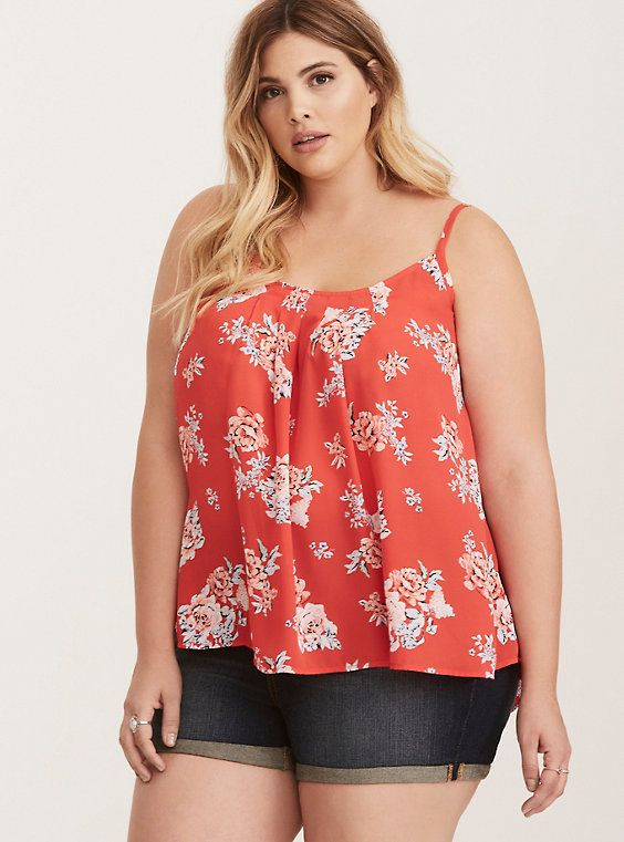 d6a96f868e6 Plus Size Floral Print Crossback Pleated Cami Top