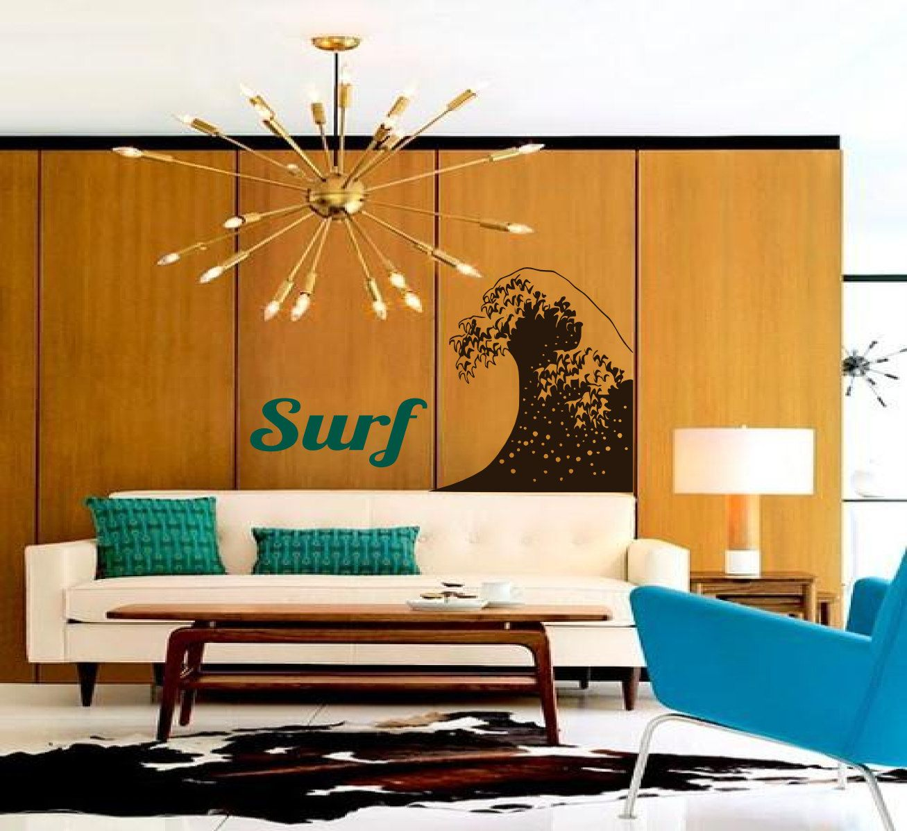 Retro Inspired Surf And Wave Combo   So Fresh Vintage  Vinyl Wall Art Words  Decal