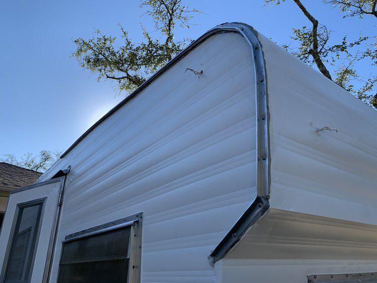 The Cameo Camper Renovation Installing J Trim Roof Gutters Lone Oak Design Co Gutters Installation Camper Renovation