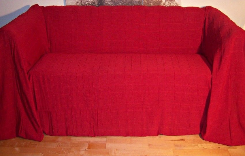 100% Cotton Red 2 Seater Sofa Throw 180 x 230 cms - Bold/ Bright