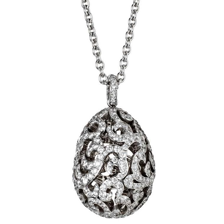 Faberg egg bar easter fun of the bejewelled kind at harrods in a signature and classic egg pendant by faberg set with white diamonds discover jewellery aloadofball Choice Image