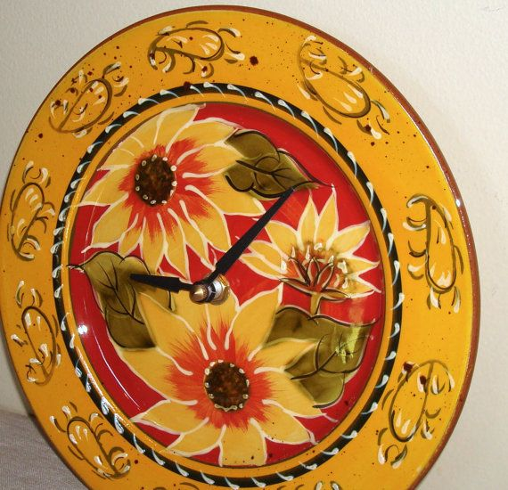 RESERVED Sunflower Clock, Deep Red, Gold Floral Ceramic Plate Clock, Kitchen  Clock, Living Room Clock, 8 Inch Clock, Autumn Colors No. 1262