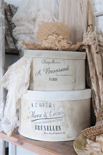 Jeanne D Arc Living Hutschachteln 2 Grossen Creme Vintagelabel