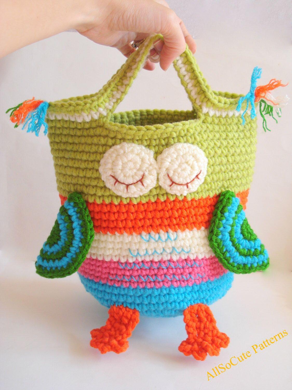 Basket owl crochet pattern storage basket storage bin large crochet bag purse pattern sleepy owl includes photos instructions and pattern finished owl bag is ap bankloansurffo Image collections