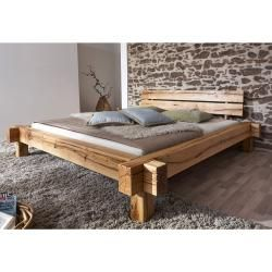 Jazz Massivholzbett / Balkenbett Wildeiche geölt - 200 x 200 cm Möbel-Eins