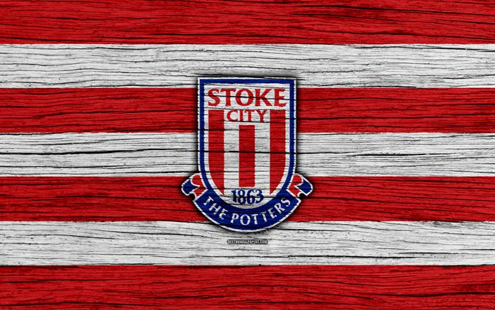 Lataa kuva Stoke, 4k, Premier League, logo, Englanti, puinen rakenne, FC Stoke, jalkapallo, Stoke City FC