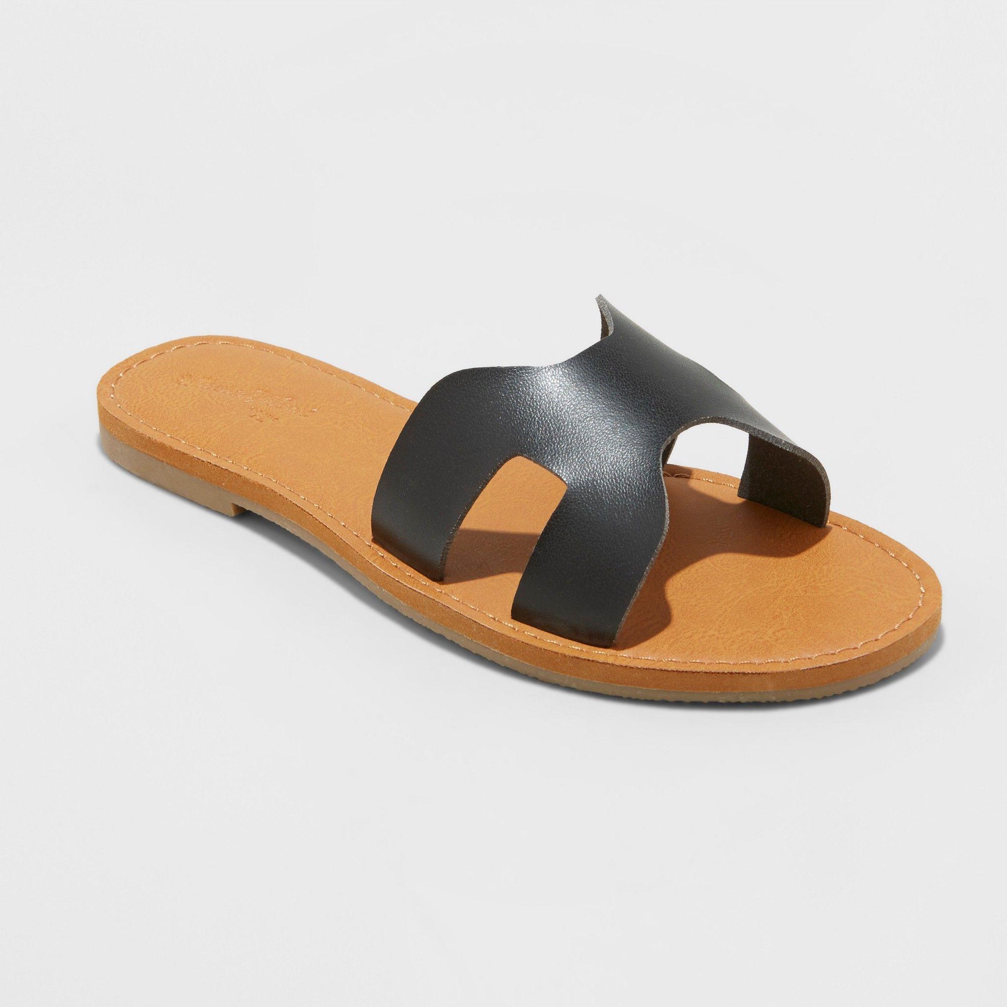 61c2ca59e94 Women s Jenny Wide Width Slide Sandals - Universal Thread Black 8.5W ...