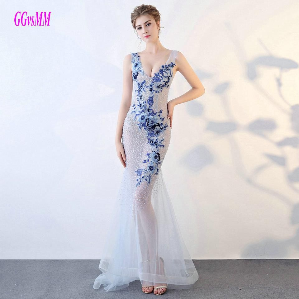 Sexy transparent blue mermaid prom dresses new prom dress long