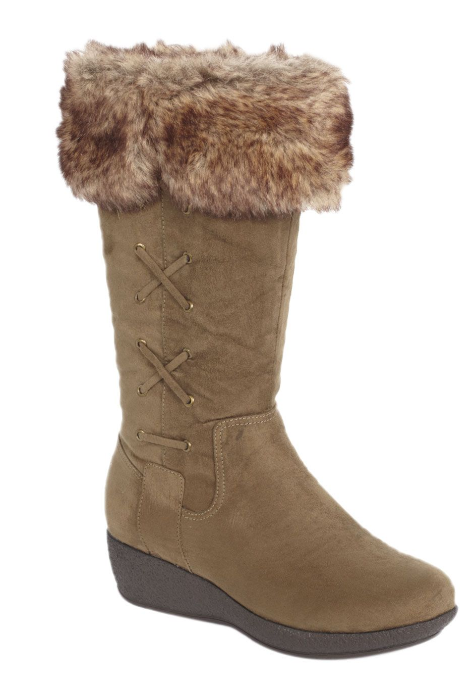 5315f48b3d1 Plus Size Dancer faux fur cuff wide-calf wedge boot by Comfortview ...