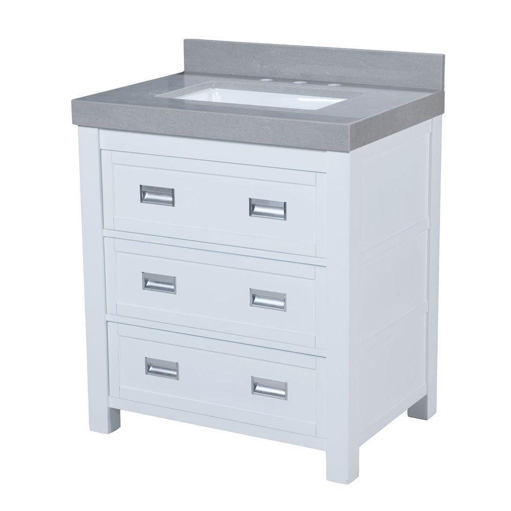 Maykke Hayden 30 5 In W X 22 In D Vanity In White with Granite