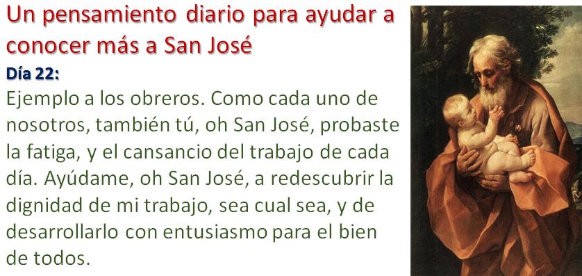 Un pensamiento diario para conocer más a San José Día 22: