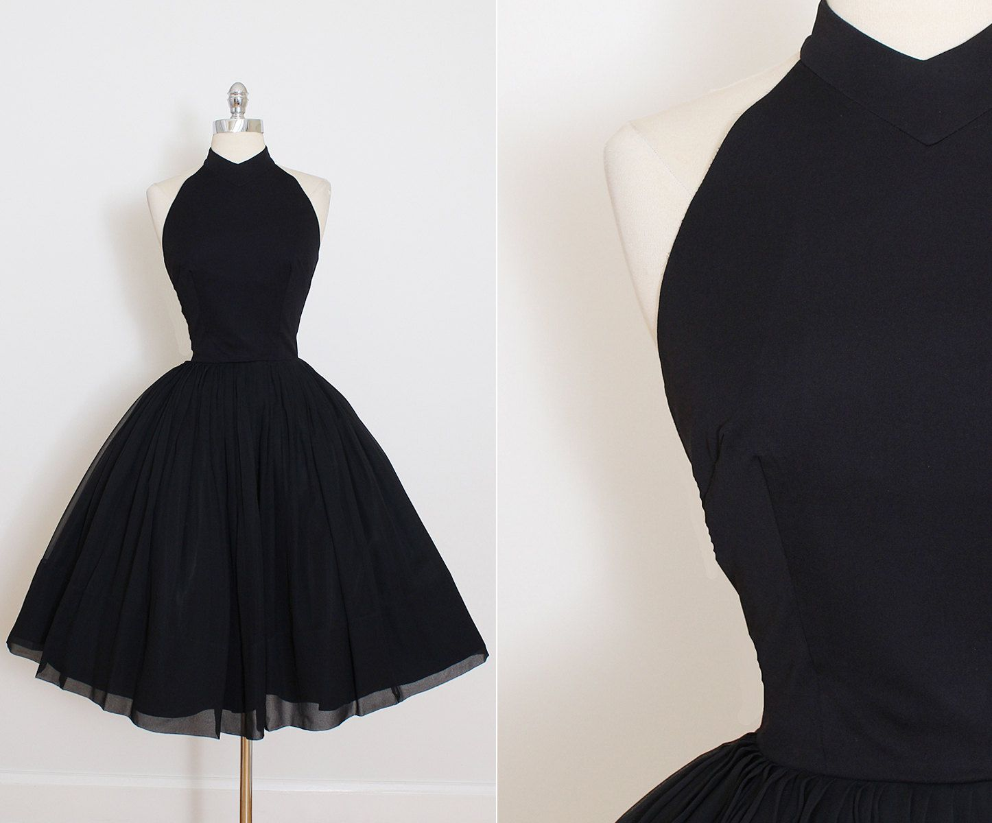 Vintage 50s Dress   1950s vintage dress   black crepe chiffon halter ...