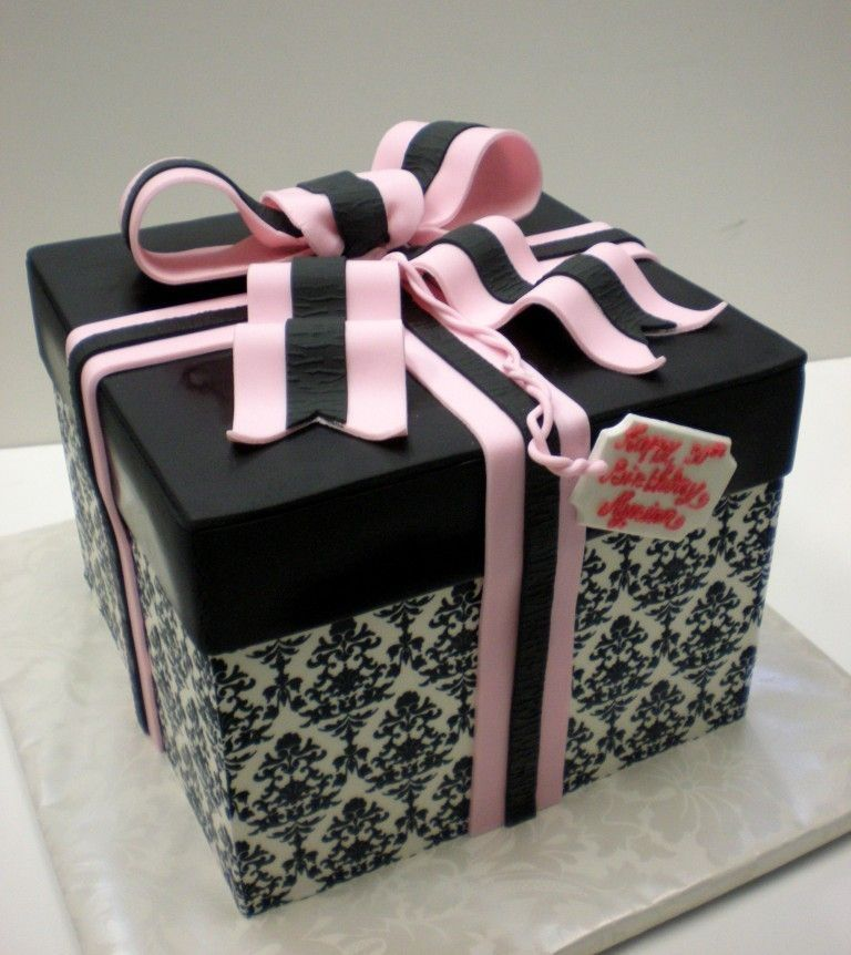 Cake size 9x9x7 covered with fondant damask pattern made out damask print gift box cake size covered with fondant damask pattern made out of edible paper negle Images