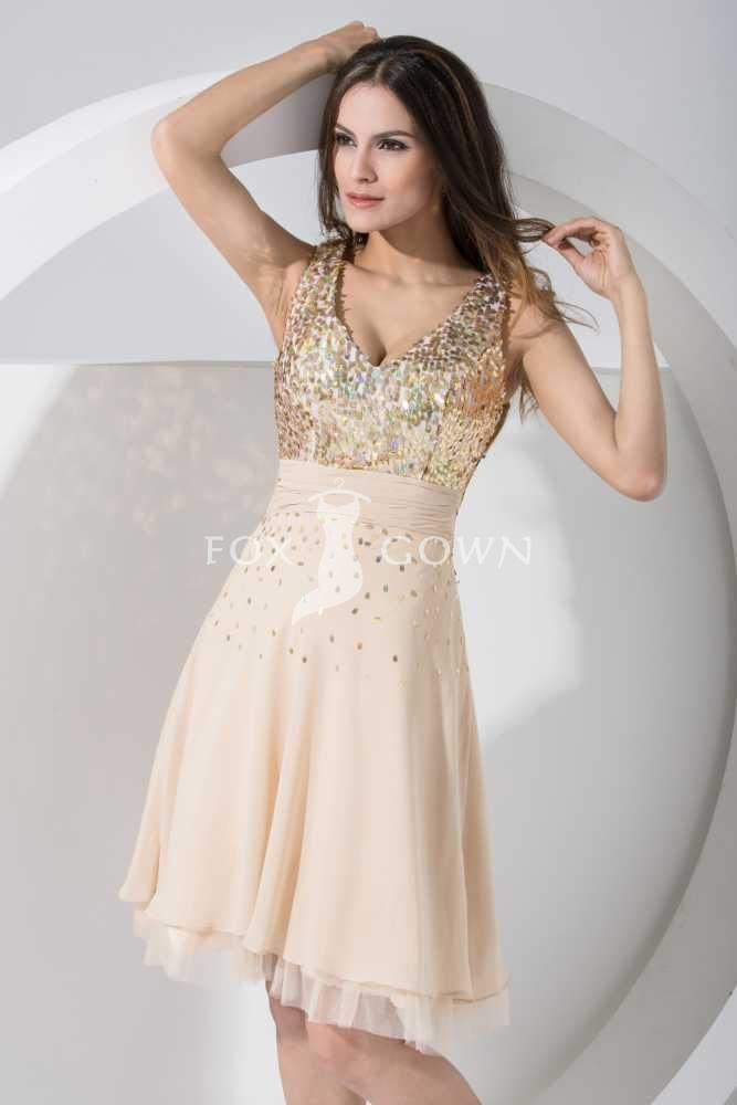 v neck sleeveless knee length a line gold sequin chiffon ...