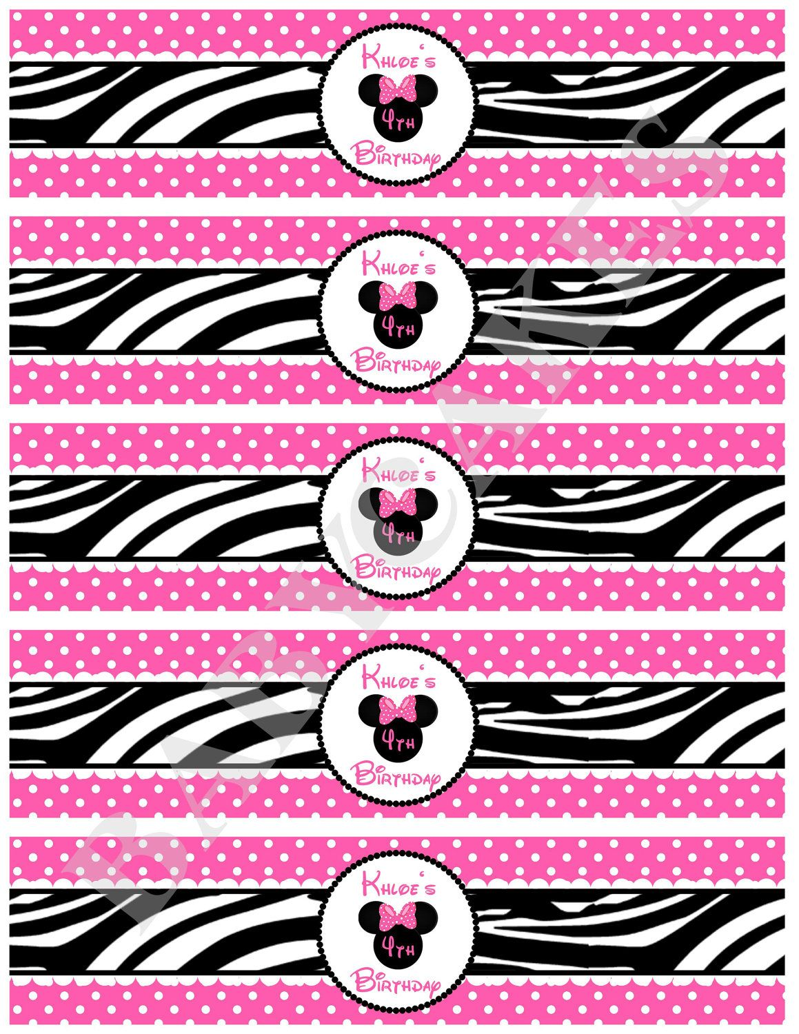 Minnie Mouse Water Bottle Labels Wraps Zebra Print - DIY Print Your