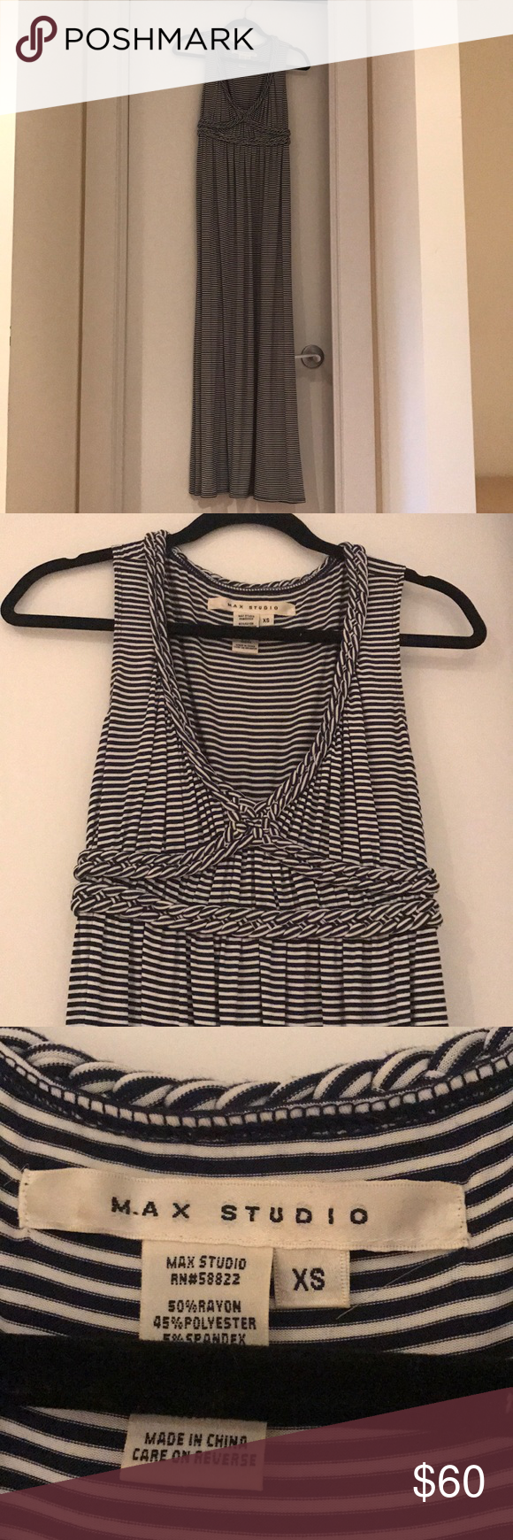 3a414993653 Max Studio Maxi Dress EUC. Worn a handful of times. Size XS. Max Studio  navy and white striped maxi dress. Max Studio Dresses