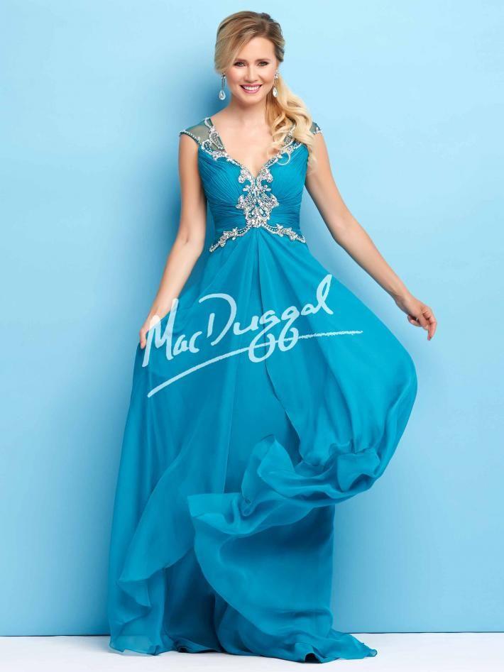 Peacock Blue Prom Dress Mac Duggal 65108l Fancy Not