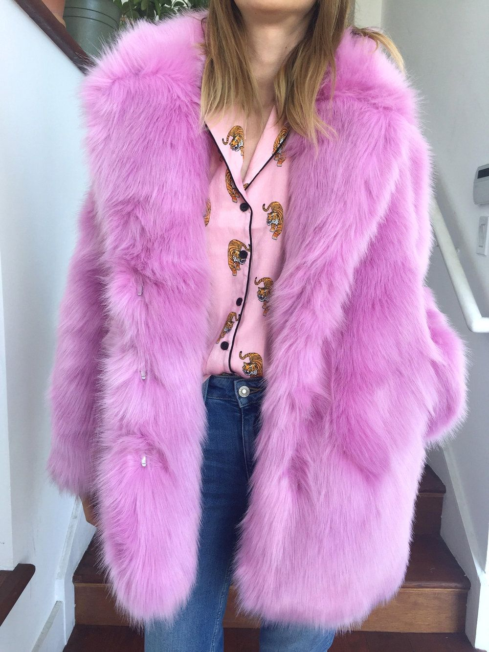08ef8e5ccd59f Pink faux fur winter coat, HM pink faux fur coat, Gucci inspired pink faux  fur coat