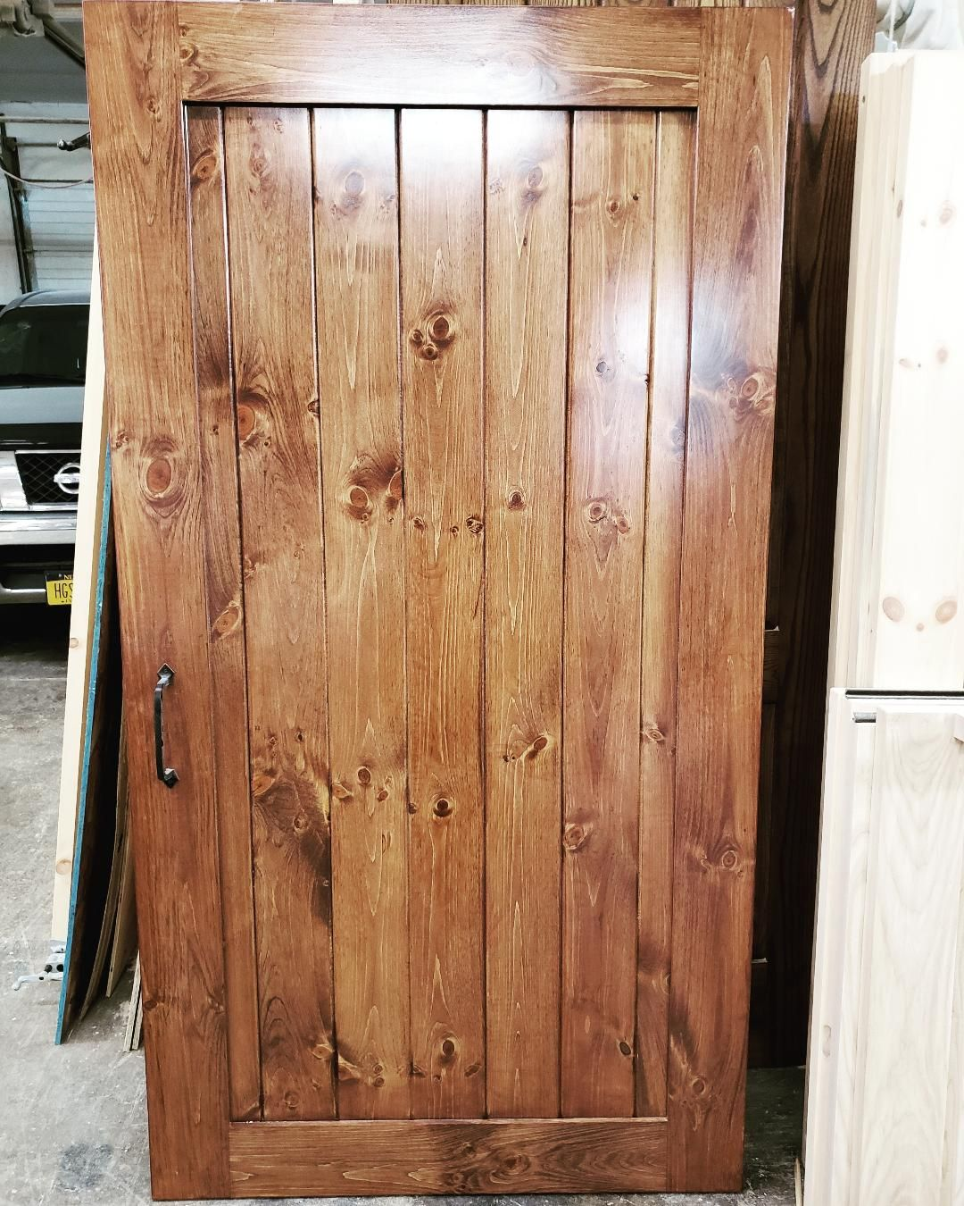 Custom Sliding Pine Barn Door Stained English Chestnut Call Today