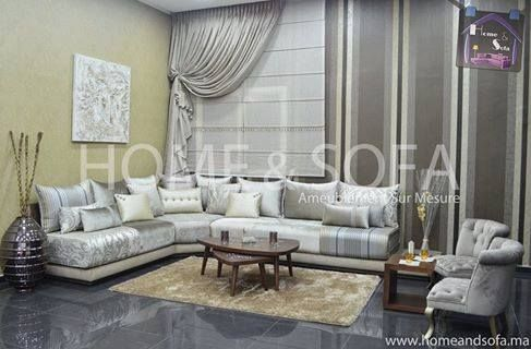 Salon marocain – salon marocain gris – table basse – Home and Sofa ...