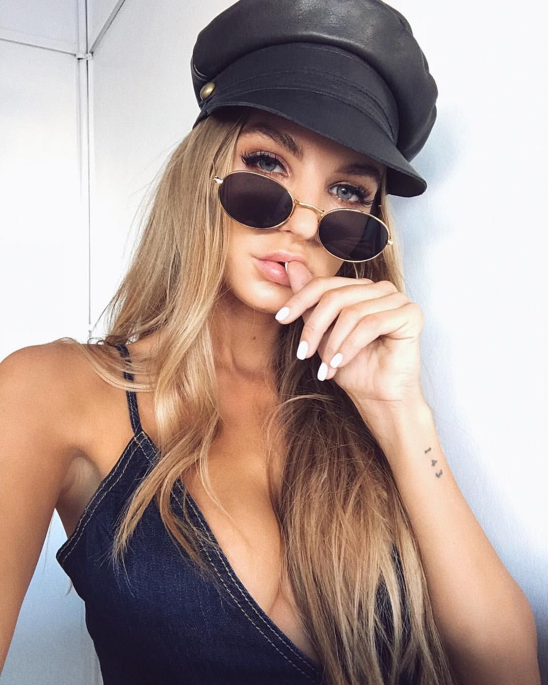 f504f17125 TRENDY AF 💣 Lack of Color Leather Lola Cap    Frankie Oval Sunglasses    Soho  Denim Mini Dress ☆ Tap to shop