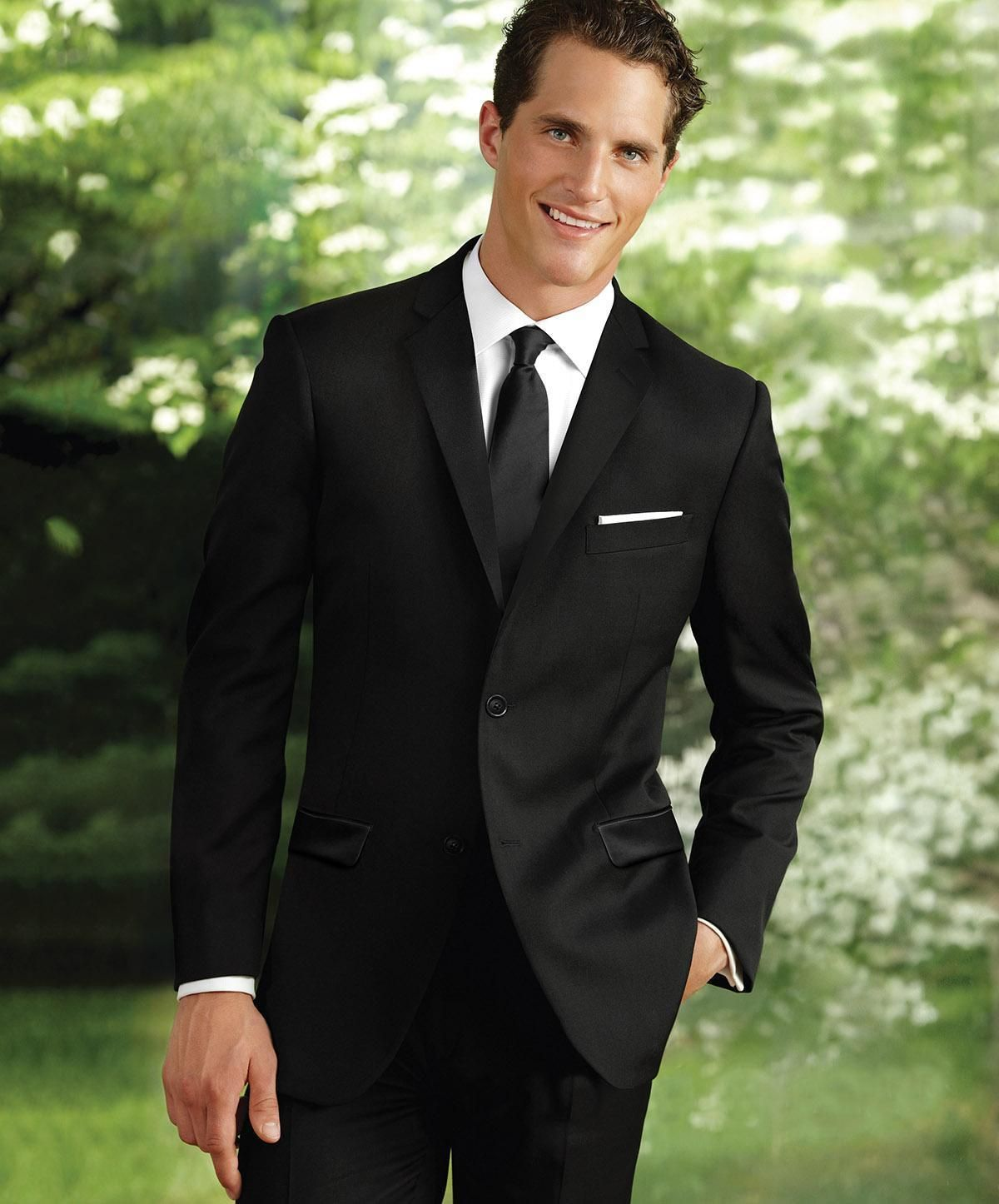 Custom Made Two Buttons Groom Tuxedos Trim Fit Wedding Black Suits ...