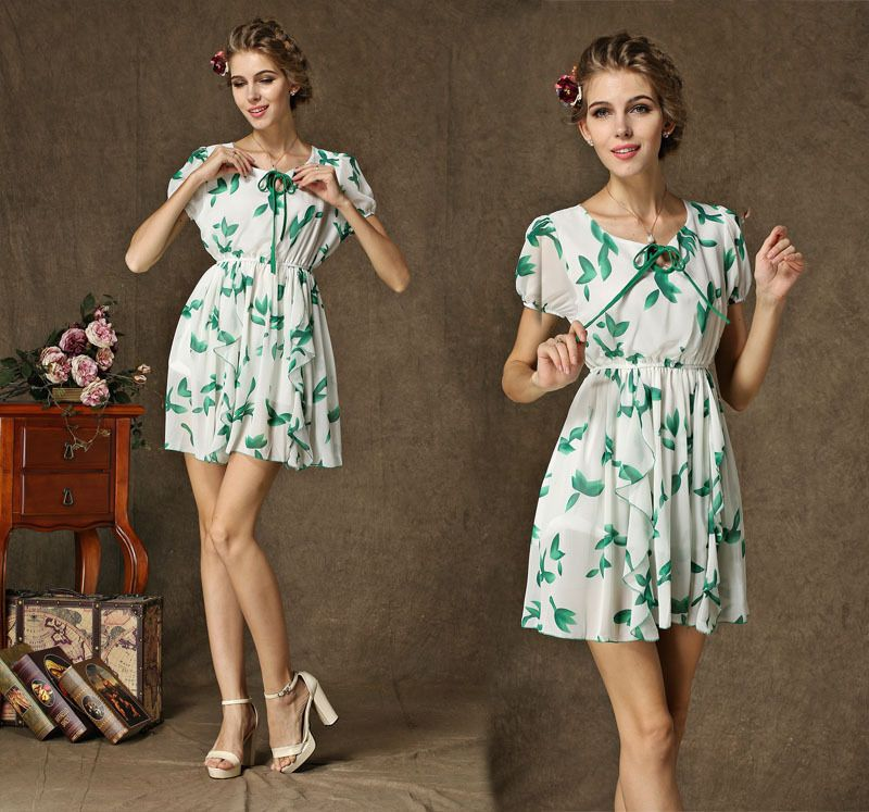 Find More Dresses Information about Women's fashion dress 2014 new summer quality popular fairy fruit simple cotton green autumn leaves dress printed short sleeved ,High Quality Dresses from Women Young Store on Aliexpress.com