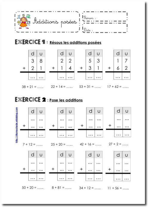 Fiches Additions posées sans retenue | Maths ce1 ...