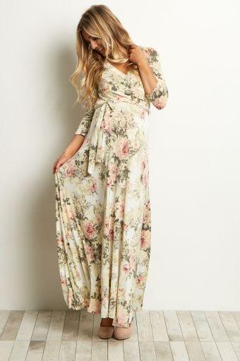 White long sleeve maternity nursing maxi dress