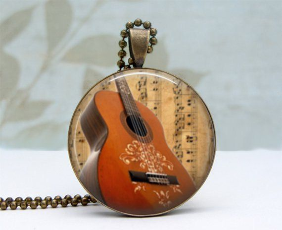 Guitar Necklace handcrafted Glass Picture Pendant by Lizabettas, $12.00