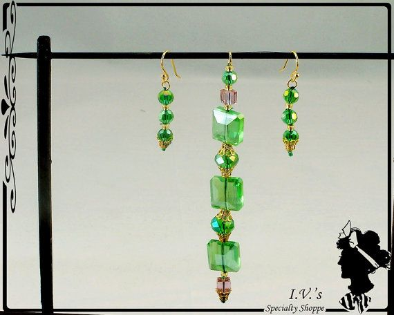 Green Crystal Pendant and Earring Set by IVsSpecialtyShoppe