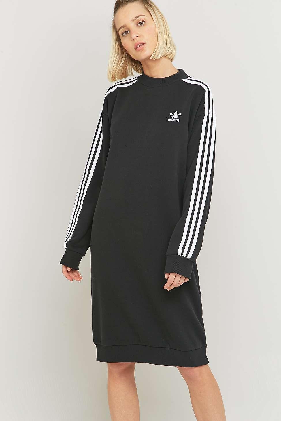 adidas Originals 3 Stripe Black Midi Dress   Robe noire mi
