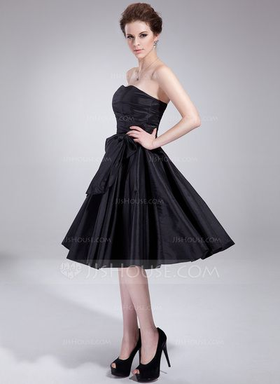 Empire Sweetheart Knee-Length Taffeta Bridesmaid Dress With Ruffle Bow(s) (007018773)