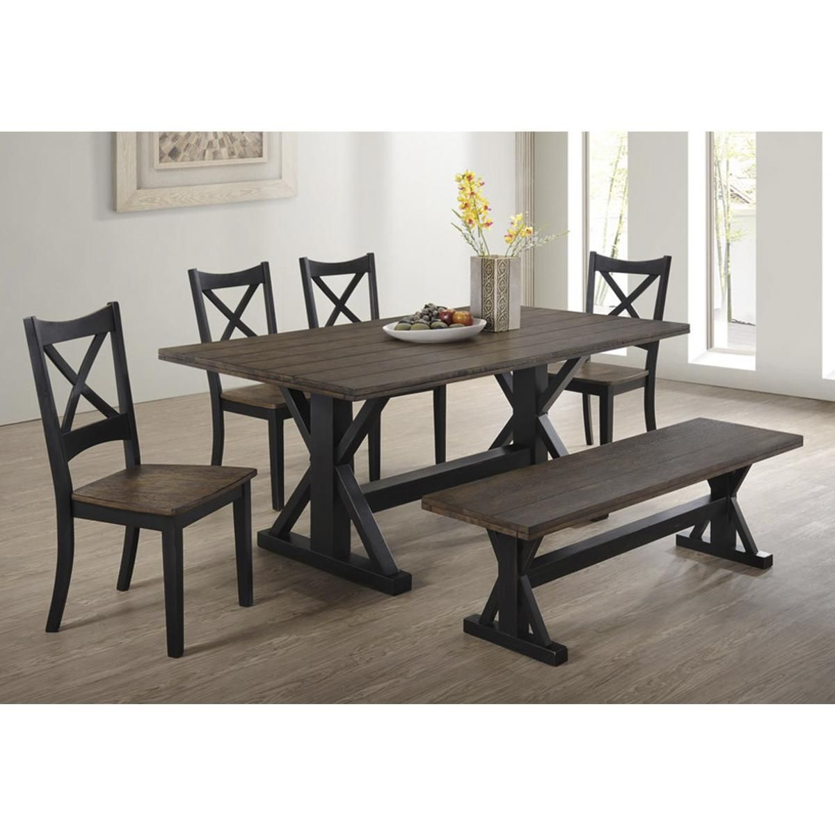 Simmons Upholstery Lexington 6 Piece Dining Set In Black And