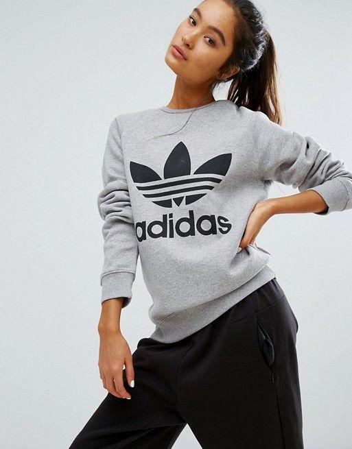 f4d3b41a0cc7 Adidas Originals gray trefoil boyfriend sweatshirt in 2019 | Hoodies ...