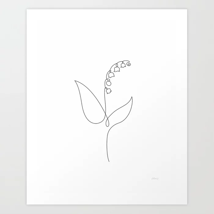 Lily of the valley - one line drawing of a flower.